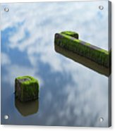 Wooden Posts At Low Tide Acrylic Print