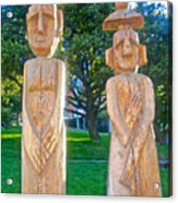 Wooden Sculptures In Central Park In Bariloche-argentina Acrylic Print