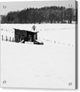 Wooden Stable In Winter Landscape Acrylic Print