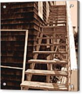 Wooden Stairs In Sepia Acrylic Print