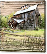 Wooden Water Mill Acrylic Print