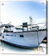 Wooden Yacht In Mooring Acrylic Print