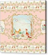 Woodland Fairy Tale - Blush Pink Forest Gathering Of Woodland Animals Acrylic Print