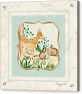 Woodland Fairy Tale - Deer Fawn Baby Bunny Rabbits In Forest Acrylic Print