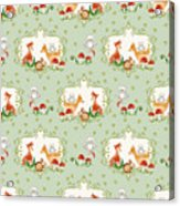 Woodland Fairy Tale - Mint Green Sweet Animals Fox Deer Rabbit Owl - Half Drop Repeat Acrylic Print