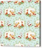 Woodland Fairy Tale - Sweet Animals Fox Deer Rabbit Owl - Half Drop Repeat Acrylic Print