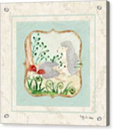 Woodland Fairy Tale - Woodchucks In The Forest W Red Mushrooms Acrylic Print
