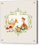 Woodland Fairytale - Grey Animals Deer Owl Fox Bunny N Mushrooms Acrylic Print