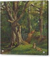 Woodland Scene With Rabbits Acrylic Print