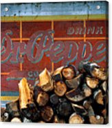 Woodpile With Taste - Dr Pepper Rustic Antique Red Country Southwest Acrylic Print