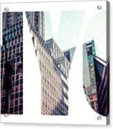Word Nyc Manhattan Skyline At Sunset, New York City  Acrylic Print