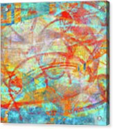 Work 00099 Abstraction In Cyan, Blue, Orange, Red Acrylic Print by Alex Hall