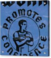 Work Promotes Confidence Blue Acrylic Print