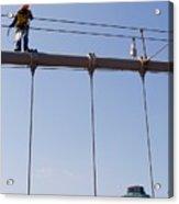 Worker On Top Of Brooklyn Bridge In New York City Acrylic Print