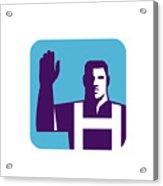 Worker Right Arm Raise To Vote Square Retro Acrylic Print