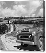 Down On The Farm- International Harvester In Black And White Acrylic Print