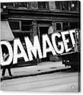 Workmen Hauling Damaged Sign Walker Evans Photo New York City 1930 Color Added 2008 Acrylic Print