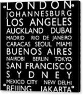 World Cities Bus Roll Acrylic Print by Michael Tompsett