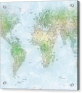 World Cities Map Acrylic Print by Michael Tompsett