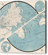 World Map - 1857 Acrylic Print