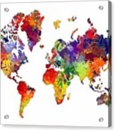World Map 8 Watercolor Print  Acrylic Print