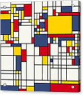 World Map Abstract Mondrian Style Acrylic Print by Michael Tompsett