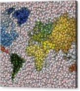 World Map Bottle Cap Mosaic Acrylic Print