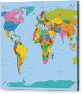 World Map Bright Acrylic Print