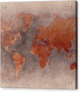 World Map Brown Acrylic Print