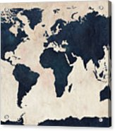World Map Distressed Navy Acrylic Print by Michael Tompsett