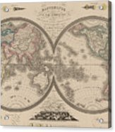 World Map Divided Into Two Hemispheres Acrylic Print