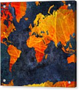 World Map - Elegance Of The Sun - Fractal - Abstract - Digital Art 2 Acrylic Print by Andee Design