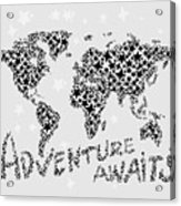 World Map For Kids Black Star Acrylic Print