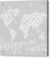 World Map For Kids White Gray Acrylic Print