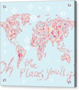 World Map Geometric Pink Mint  Acrylic Print