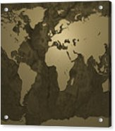 World Map Gold Acrylic Print