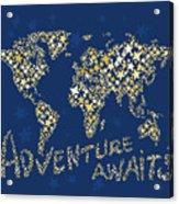 World Map Gold Yellow Star Navy Blue Acrylic Print