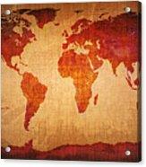 World Map Grunge Style Acrylic Print