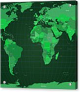 World Map In Green Acrylic Print