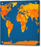 World Map In Orange And Blue Acrylic Print by Michael Tompsett