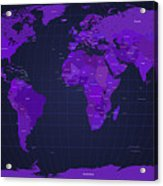 World Map In Purple Acrylic Print by Michael Tompsett