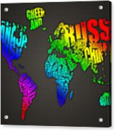 World Map In Words Acrylic Print by Michael Tompsett