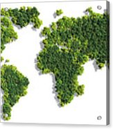 World Map Made Of Green Trees Acrylic Print