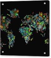 World Map Mandala Feathers 2 Acrylic Print