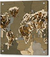 World Map Mandala Feathers 4 Acrylic Print