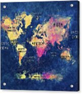 World Map Oceans And Continents Acrylic Print