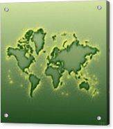 World Map Opala Square In Green And Yellow Acrylic Print