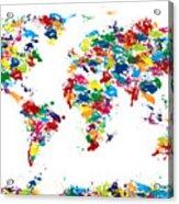 World Map Paint Drops Acrylic Print by Michael Tompsett
