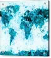 World Map Paint Splashes Blue Acrylic Print by Michael Tompsett