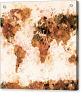 World Map Paint Splashes Bronze Acrylic Print